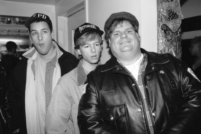 UNITED STATES - FEBRUARY 23:  Adam Sandler, David Spade and Chris Farley (l. to r.) arrive for a party at El Teddys.  (Photo by Richard Corkery/NY Daily News Archive via Getty Images)